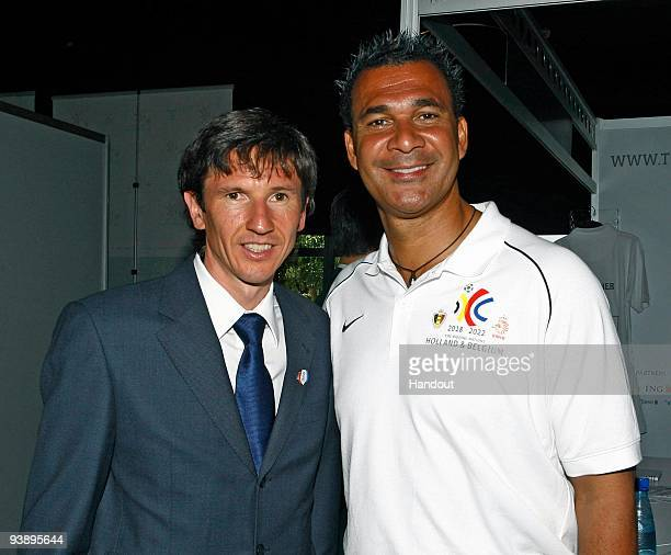 In this handout image provided by the 2010 FIFA World Cup Organising Committee South Africa, Alexey Smertin and Ruud Gullit attend the 2018/2022 FIFA...