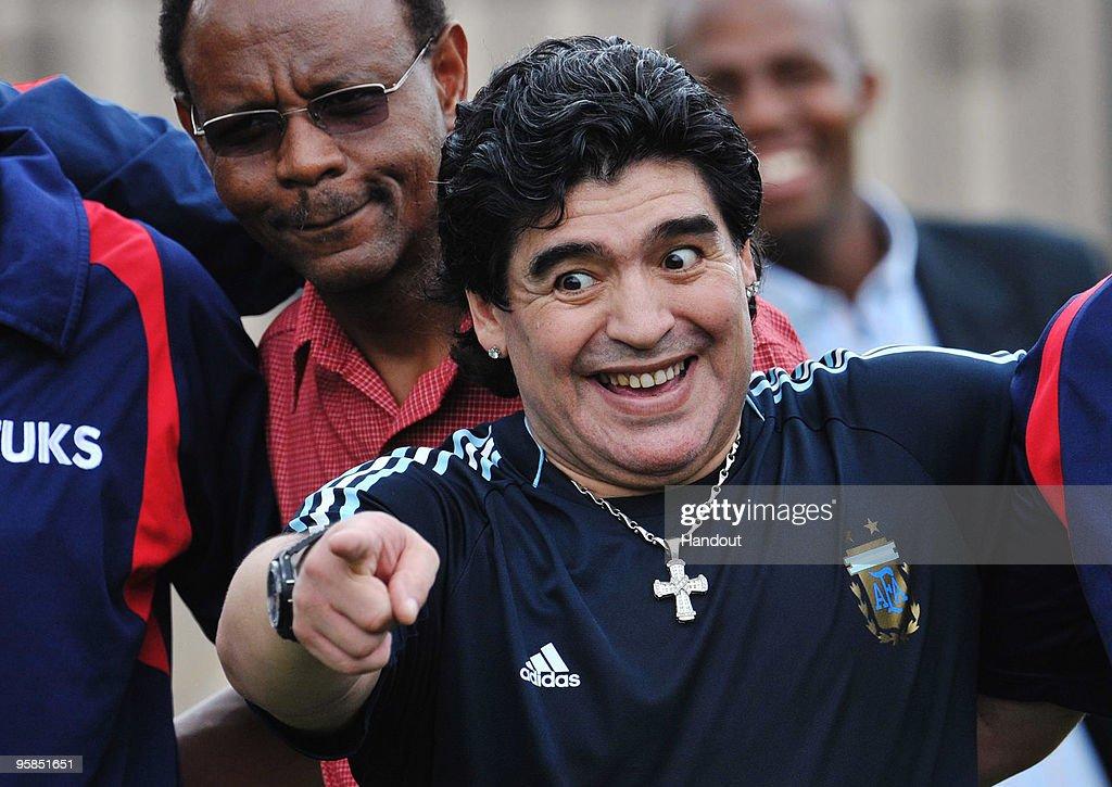 Diego Maradona Visits Football Clinic In Pretoria : News Photo
