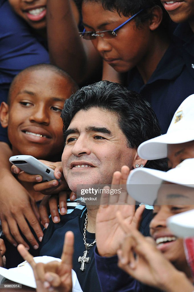 In this handout image provided by the 2010 FIFA World Cup Organising Committee South Africa, Argentina head coach Diego Maradona attends a football clinic at the High Performance Centre on January 18. 2010 in Pretoria, South Africa.