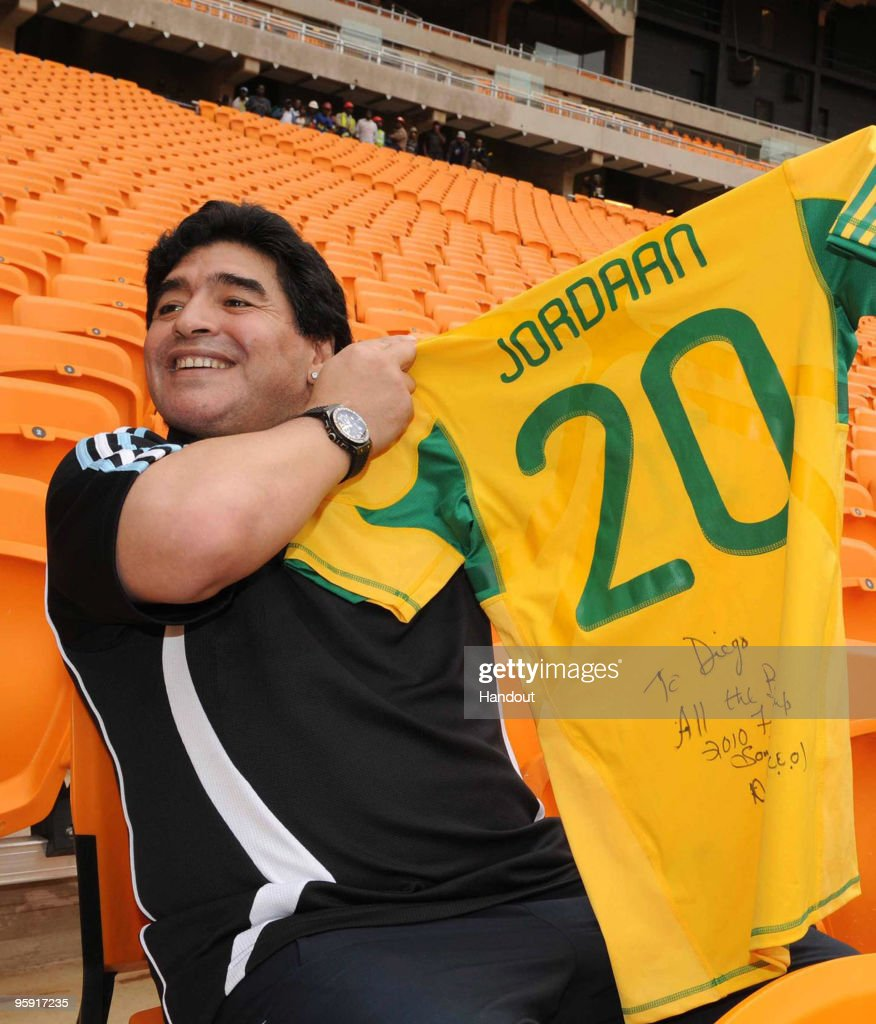In this handout image provided by the 2010 FIFA World Cup Organising Committee South Africa, Argentina head coach Diego Maradona visits Soccer City Stadium, which will stage the opening match and final of the 2010 FIFA World Cup, on January 21, 2010 in Johannesburg, South Africa.