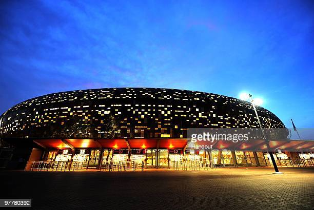 In this handout image provided by the 2010 FIFA World Cup Organising Committee South Africa A general view of the testing of lights at Soccer City...