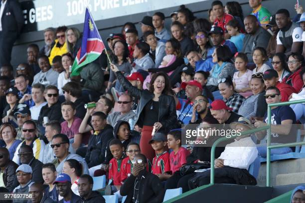 In this handout image provided by the APO Group A Namibian fan waves a flag during the Rugby World Cup qualifier and Rugby Africa Gold Cup match...