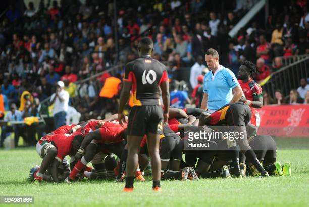 In this handout image provided by the APO Group action between Kenya Simbas and Uganda Cranes during the Rugby Africa Gold Cup during the Rugby World...