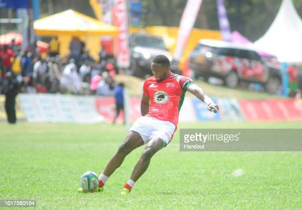 In this handout image provided by the APO Group Darwin kicks during the Rugby World Cup qualifier and Rugby Africa World Cup match between Kenya and...