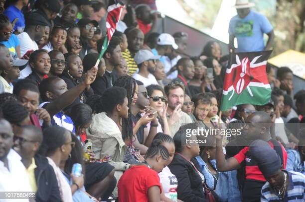 In this handout image provided by the APO Group Kenya fans during the Rugby World Cup qualifier and Rugby Africa World Cup match between Kenya and...