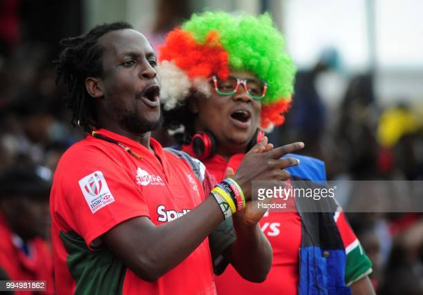 In this handout image provided by the APO Group Kenya Simbas fan attending the 3822 win over Uganda during the Rugby World Cup qualifier and Rugby...