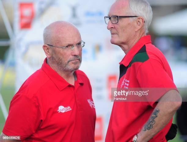 In this handout image provided by the APO Group Kenya Simbas head coach Ian Snook with his assistant Roulston Murray as Kenya Simbas beat Zimbabwe...