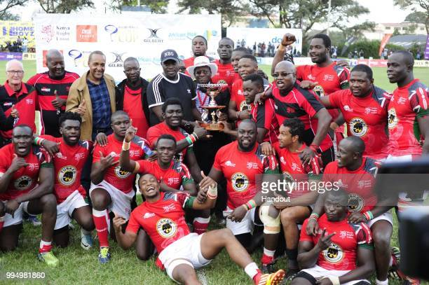 In this handout image provided by the APO Group Kenya Simbas players celebrate winning the 2018 Elgon Cup that they beat Uganda 3822 during the Rugby...