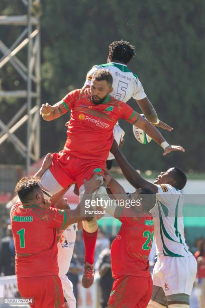 In this handout image provided by the APO Group, Morocco lose a line-out to their Zimbabwean hosts during the Rugby World Cup qualification and Rugby...