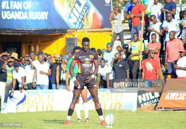 In this handout image provided by the APO Group Phillip Wokorach gets ready to take a conversion during the Rugby World Cup qualifier and Rugby...