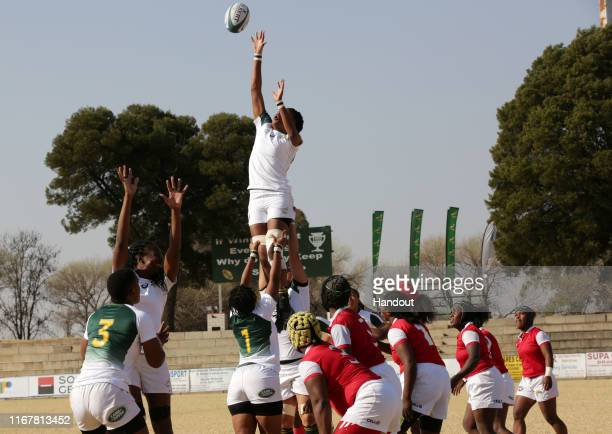 In this handout image provided by the APO Group Rights Mkhari of South Africa wins ball in line out during the Madagascar v South Africa Rugby Africa...