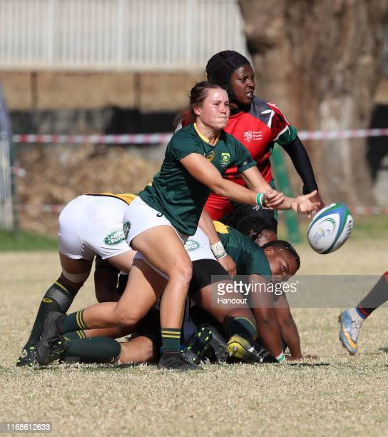 In this handout image provided by the APO Group Tayla Kinsey of South Africa during the Kenya v South Africa Rugby Africa Women's World Cup match at...