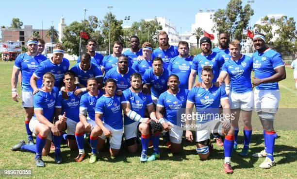 In this handout image provided by the APO Group the Namibia national team before the Rugby World Cup qualifier and Rugby Africa World Cup match...