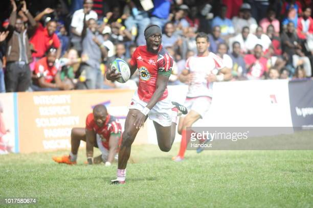 In this handout image provided by the APO Group Tony Onyango in action during the Rugby World Cup qualifier and Rugby Africa World Cup match between...