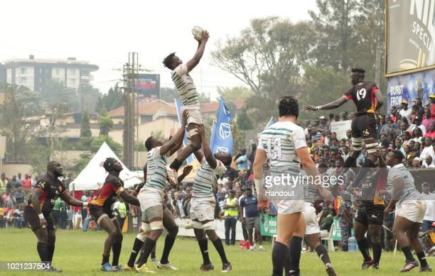 In this handout image provided by the APO Group Zimbabwe win yet another line out thanks to Chipendo during the Rugby World Cup qualifier and Rugby...