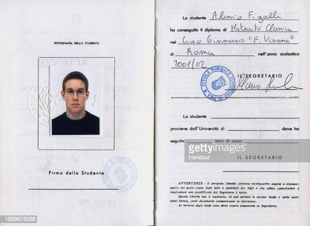 In this handout image provided by the archive of Scuola Normale di Pisa shows a 2002 booklet belonging to the student Alessio Figalli on August 2...