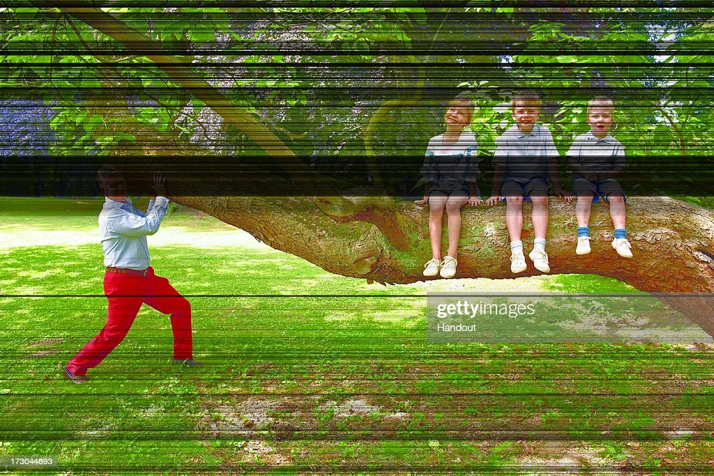 In this handout image provided by the Belgian Royal Palace, Prince Philippe of Belgium is playing with his kids, Elisabeth, Gabriel and Emmanuel in his garden in the royal castle of Laeken on June 27, 2009 in Bruessels, Belgium.