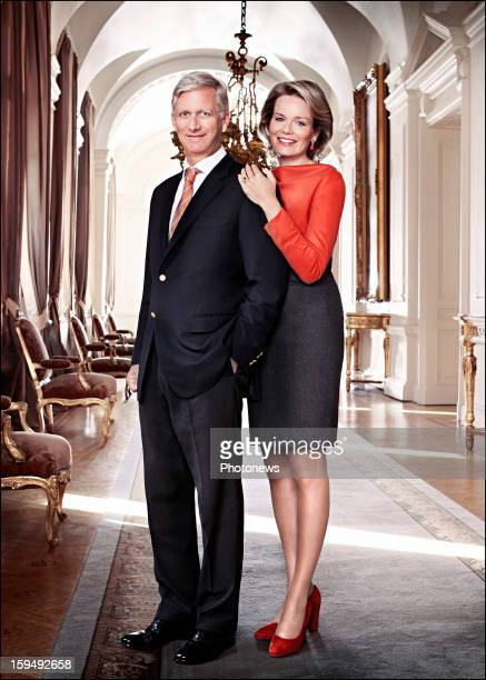 In this handout image provided by the Belgian Royal Palace Princess Mathilde of Belgium poses with her husband Prince Philip of Belgium on January 8...
