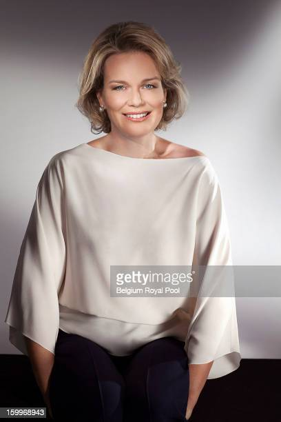 In this handout image provided by the Belgian Royal Palace, Princess Mathilde of Belgium poses at Laeken Castle ahead of her 40th birthday on January...