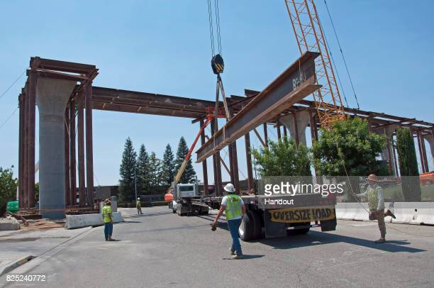 In this handout image provided by the California HighSpeed Rail Authority Construction of the Cedar Viaduct seen from the Golden State Boulevard to...
