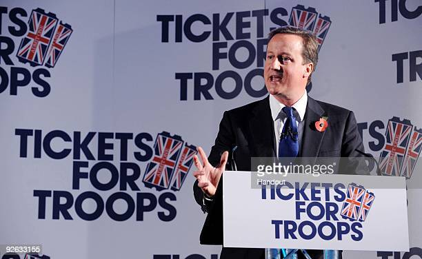 In this handout image provided by the Conservative Party Leader of the Conservative Party David Cameron speaks during the launch of the Tickets for...