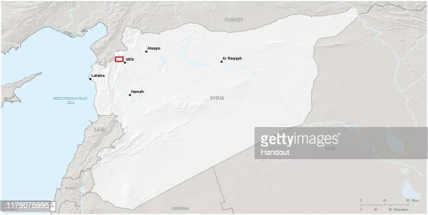 In this handout image provided by the Department of Defense the approximate location of the US Special Operations forces raid on ISIS leader Abu Bakr...