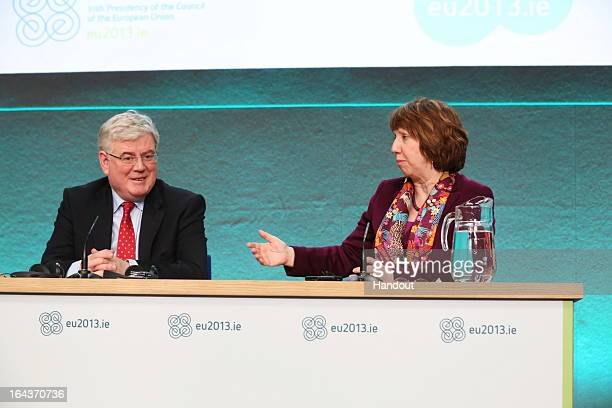 In this handout image provided by The Department of the Taoiseach Eamon Gilmore TD Tánaiste and Minister for Foreign Affairs and Trade and Catherine...