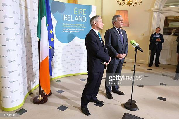 In this handout image provided by the Dept of the Taoiseach Richard Bruton TD Minister of Jobs Enterprise Innovation with Antonio Tajani Vice...