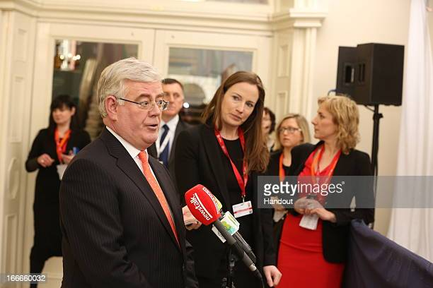 In this handout image provided by the Dept of the Taoiseach Tanaiste Eamon Gilmore attends the Hunger Nutrition Climate Justice Conference on April...