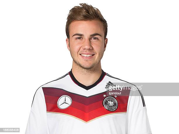 In this handout image provided by the DFB Mario Goetze poses during the German National Team presentation on November 15 2013 in Germany