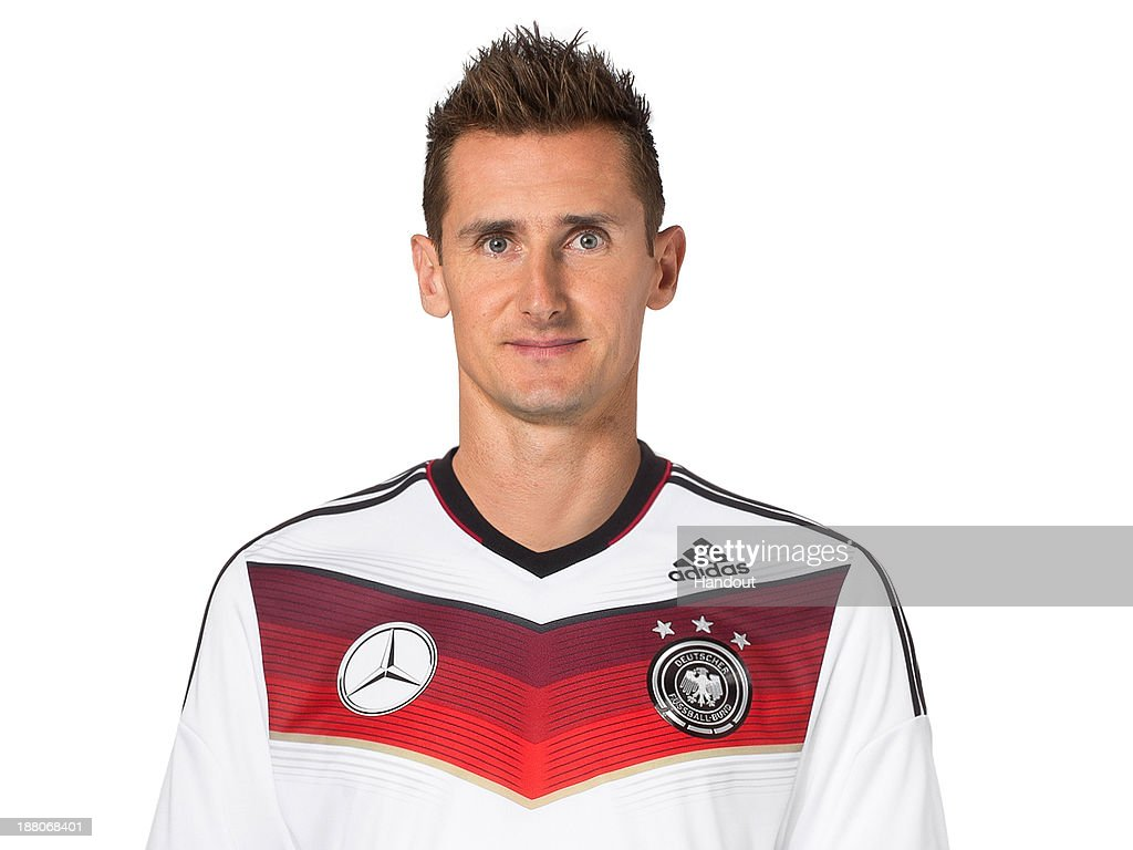 In this handout image provided by the DFB, Miroslav Klose poses during the German National Team presentation on November 15, 2013 in Germany.