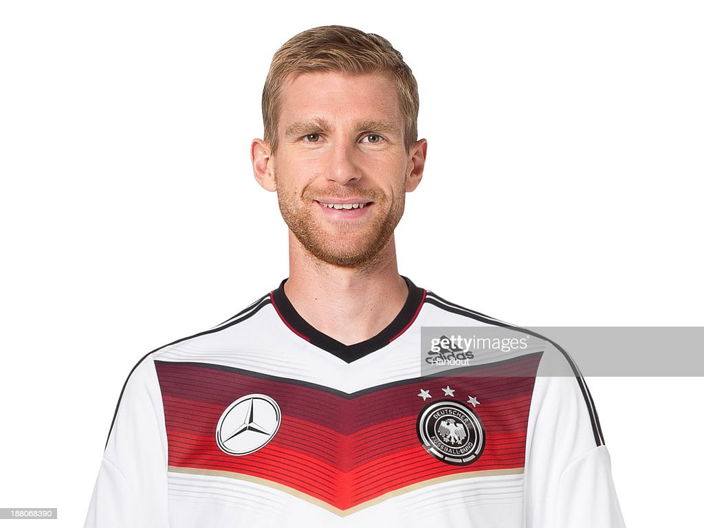 In this handout image provided by the DFB, Per Mertesacker poses during the German National Team presentation on November 15, 2013 in Germany.