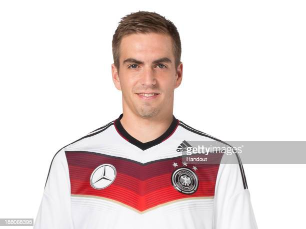 In this handout image provided by the DFBPhilipp Lahm poses during the German National Team presentation on November 15 2013 in Germany