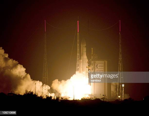 In this handout image provided by the European Space Agency the Ariane 5 ES lifts off from the launch zone February 16 2011 at Europe's Spaceport in...