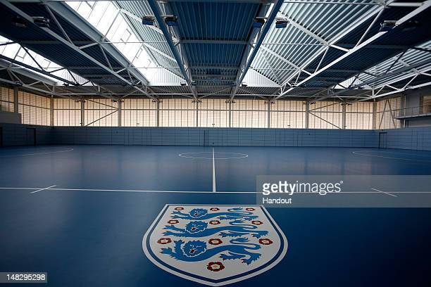In this handout image provided by The FA, A general view an indoor training facility during a media event at the Football Association's new National...