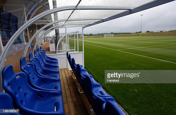 In this handout image provided by The FA, A general view of the dugouts on the Umbro training pitch during a media event at the Football...