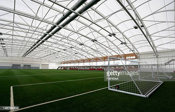 In this handout image provided by The FA, A general view of the Sir Alf Ramsey indoor training pitch during a media event at the Football...