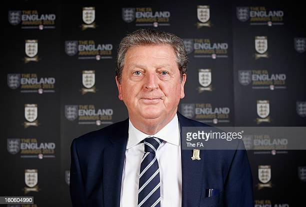 In this handout image provided by The FA, England manager Roy Hodgson poses during the FA England Awards 2013 at St. George's Park on February 3,...