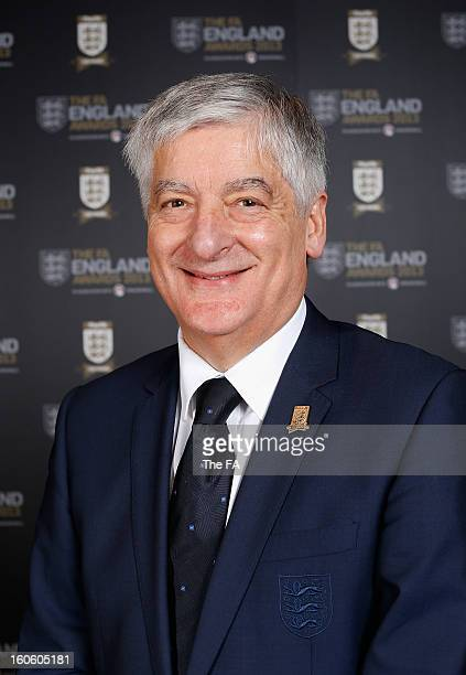 In this handout image provided by The FA, FA Chairman David Bernstein poses during the FA England Awards 2013 at St. George's Park on February 3,...