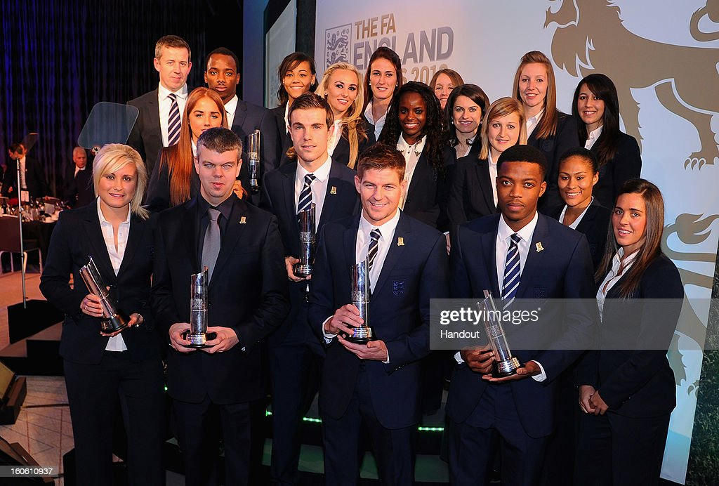 In this handout image provided by The FA, Steven Gerrard (front row, middle) the Senior Men's Player of the Year poses with fellow award winners during the FA England Awards 2013 at St. George's Park on February 3, 2013 in Burton-upon-Trent, England.