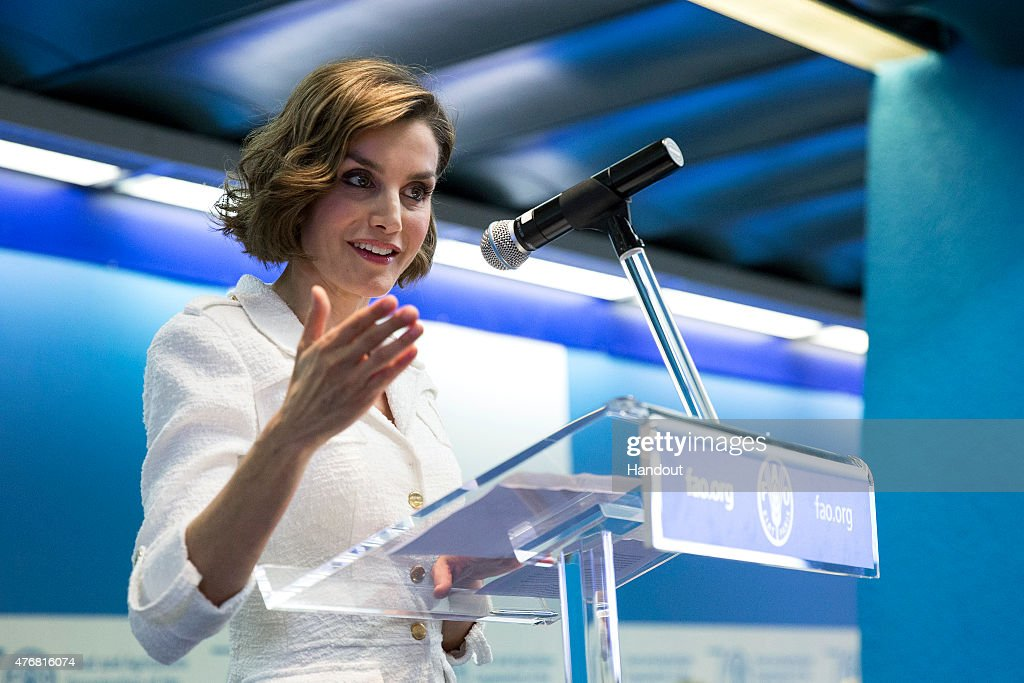 In this handout image provided by the FAO, Her Majesty Queen Letizia of Spain delivers her acceptance speech as she is named FAO Special Ambassador for Nutrition during the FAO Conference 39th Session at the FAO Headquarters (Plenary Hall) on June 12, 2015 in Rome, Italy.