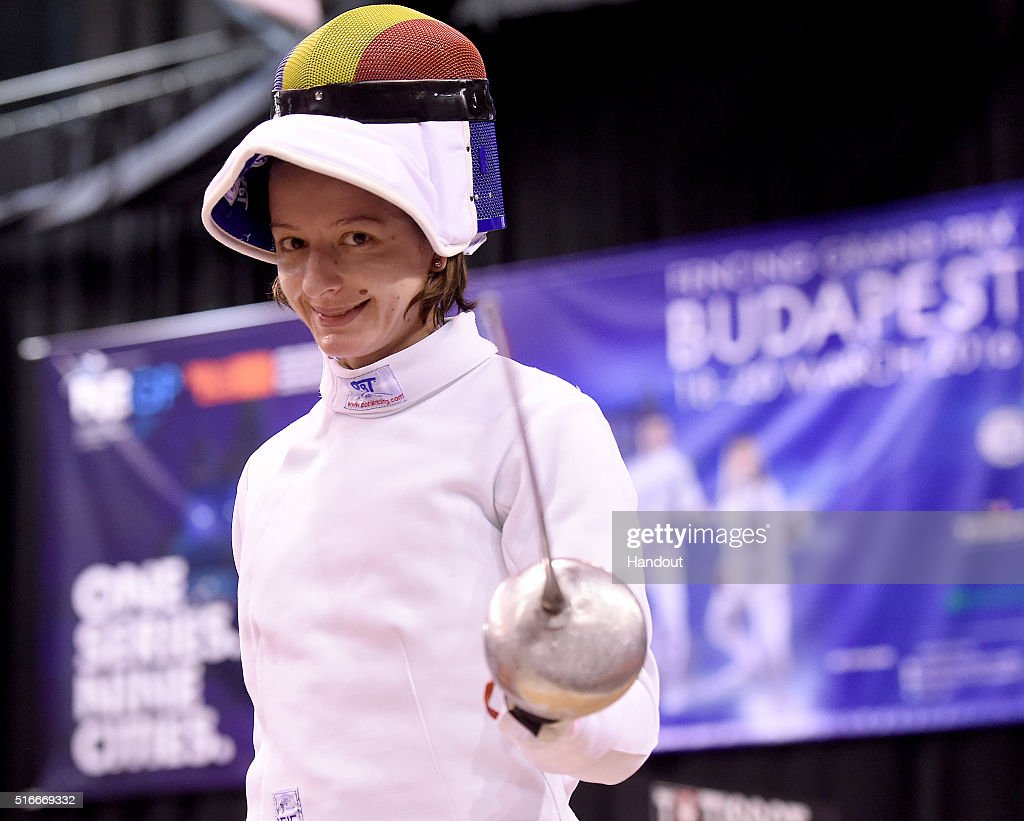 In this handout image provided by the FIE, Ana Maria Popescu of Romania competes during the individual women's epee match during day 3 of the WESTEND Grand Prix on March 20, 2016 in Budapest, Hungary.