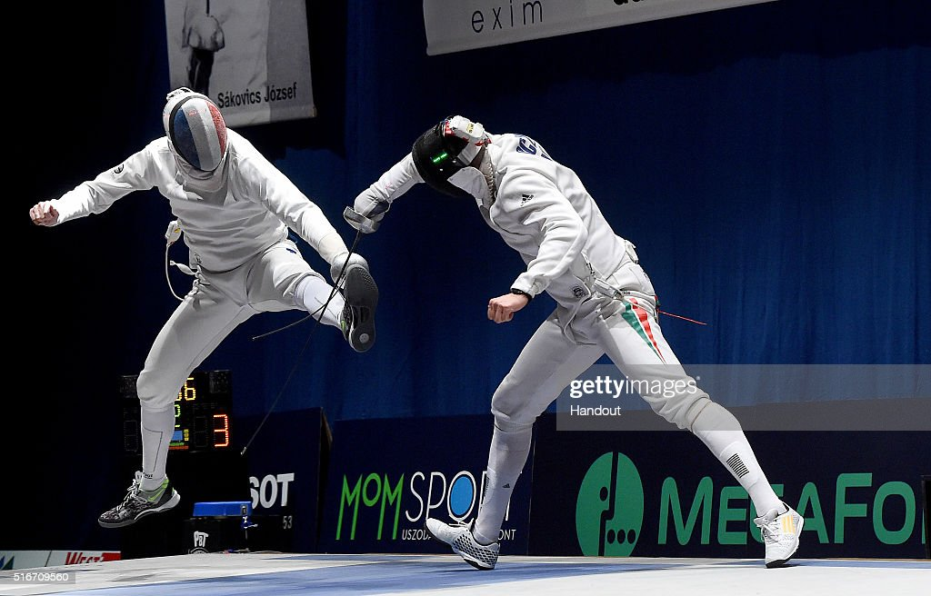In this handout image provided by the FIE, Gauthier Grumier of France and Gabor Boczko of Hungary compete during the individual men's epee match during day 3 of the WESTEND Grand Prix on March 20, 2016 in Budapest, Hungary.