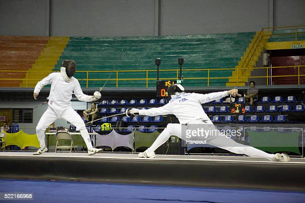 In this handout image provided by the FIE John Edison Rodriguez of Colombia competes during the men's individual epee competition and qualification...