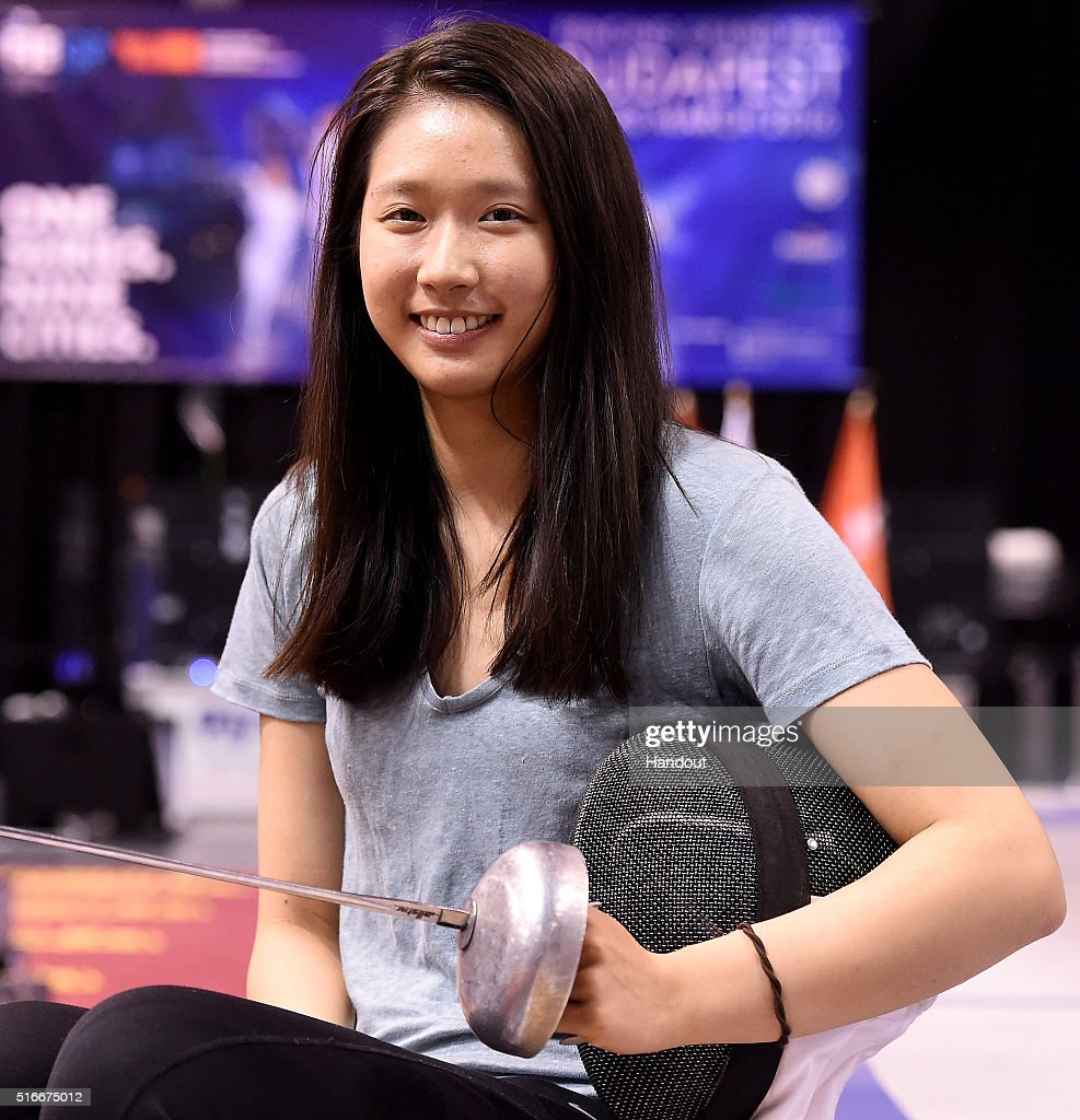 In this handout image provided by the FIE, Man Wai Vivian Kong of Hong Kong competes during the individual women's epee match and qualifies for the Rio 2016 Olympic Games during day 3 of the WESTEND Grand Prix on March 20, 2016 in Budapest, Hungary.