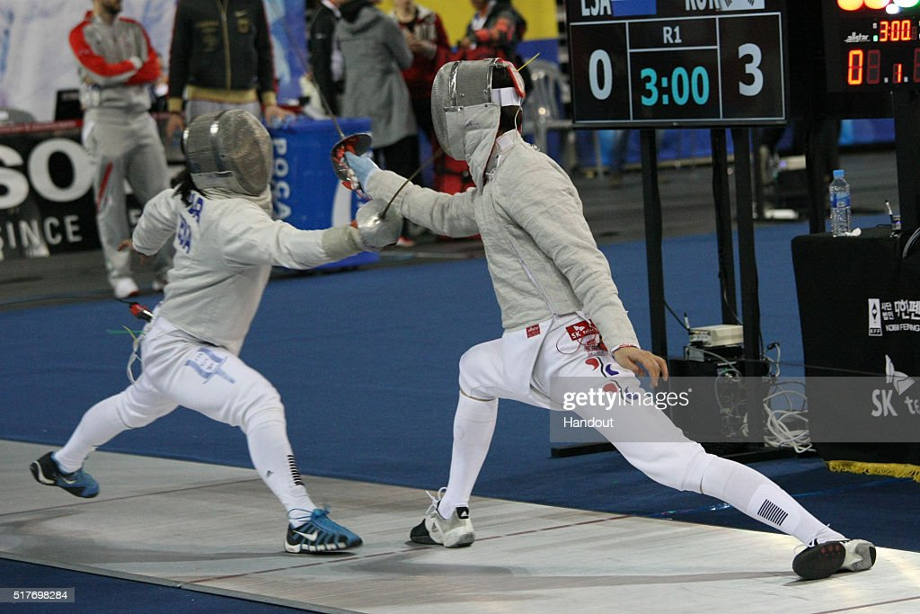 In this handout image provided by the FIE, Tabor Martl of ESA and Won Junho of Korea compete during the individual Men's Sabre match during day 1 of the FIE Grand Prix on March 25, 2016 in Seoul, South Korea.