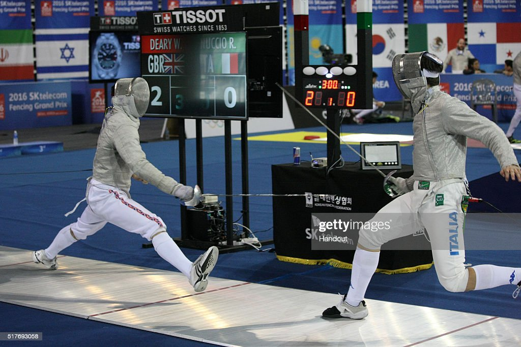 In this handout image provided by the FIE, (L-R) William Deary of Great Britain and Ricardo Nuccio of Italy compete during the individual Men's Sabre match during day 1 of the FIE Grand Prix on March 25, 2016 in Seoul, South Korea.