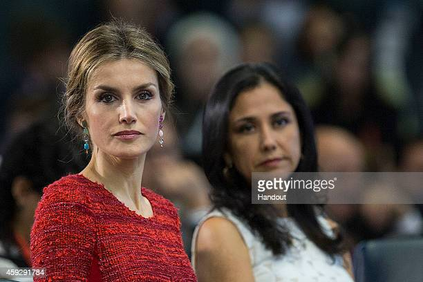 In this handout image provided by the Food and Agriculture Organization of the UN Queen Letizia of Spain and wife of Peru President Nadine Heredia...