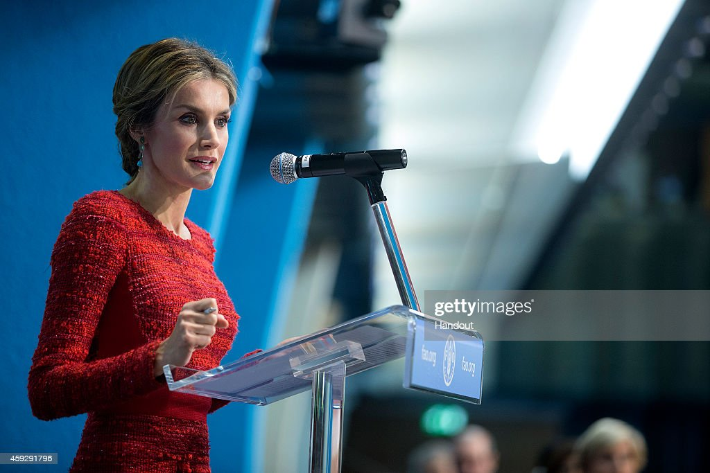 In this handout image provided by the Food and Agriculture Organization of the UN (FAO), Queen Letizia of Spain speaks during the Second International Conference on Nutrition in the Plenary Hall at the Fao Headquarters on November 20, 2014 in Rome, Italy. In his address to participants the Holy Father spoke of waste and excessive consumption of food.