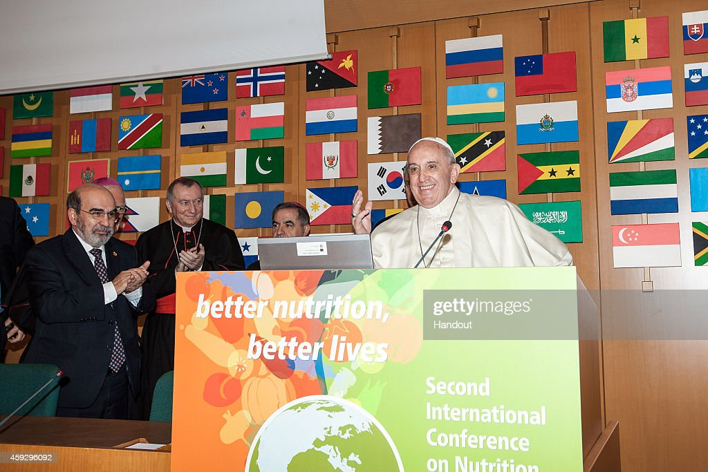 In this handout image provided by the Food and Agriculture Organization of the UN (FAO), Pope Francis speaks during the Second International Conference on Nutrition at the Fao Headquarter on November 20, 2014 in Rome, Italy. In his address to participants the Holy Father spoke of waste and excessive consumption of food.